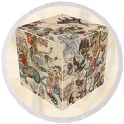 Celestial Map - Cubic Projection Of The Constellations 02 - Illustrated Map Of The Sky Round Beach Towel