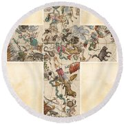 Celestial Map - Cubic Projection Of The Constellations - Illustrated Map Of The Sky Round Beach Towel