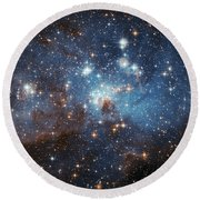Round Beach Towel featuring the photograph Celestial Season's Greetings From Hubble by Nasa