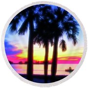Round Beach Towel featuring the photograph Celestial Skies Beach Sunset by Aimee L Maher Photography and Art Visit ALMGallerydotcom