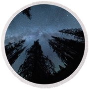Round Beach Towel featuring the photograph Celestial Starlight In The Forest Near  Lake Irene Colorado by OLena Art Brand