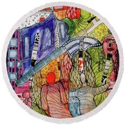 Round Beach Towel featuring the mixed media Celestial Windows by Mimulux patricia no No
