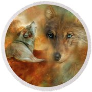 Round Beach Towel featuring the mixed media Celestial Wolves 3 by Carol Cavalaris