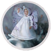 Round Beach Towel featuring the painting Celestine Snow Fairy by Nancy Lee Moran