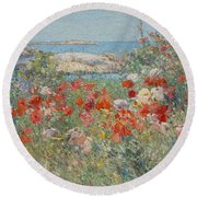 Celia Thaxter's Garden, Isles Of Shoals, Maine Round Beach Towel