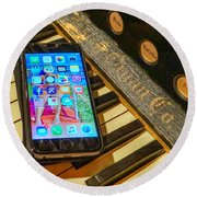 Cell Phone Round Beach Towel