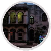 Round Beach Towel featuring the photograph Cell Phone Shop Havana Cuba by Charles Harden