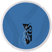 Cello In Blue Round Beach Towel