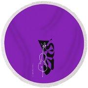 Cello In Purple Round Beach Towel