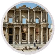 Celsus Library Round Beach Towel by Kathy McClure