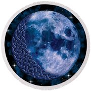 Celtic Blue Moon Round Beach Towel