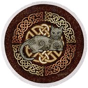 Celtic Cat Round Beach Towel