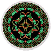 Celtic Christmas Holly Wreath Round Beach Towel by MM Anderson