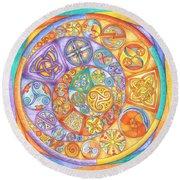 Celtic Crescents Rainbow Round Beach Towel