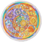 Celtic Crescents Rainbow Round Beach Towel