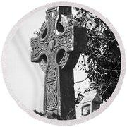 Celtic Cross At Fuerty Cemetery Roscommon Ireland Round Beach Towel