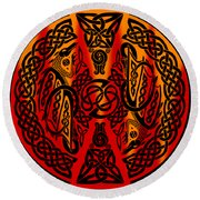 Celtic Dragons Fire Round Beach Towel