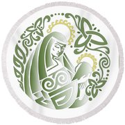 Celtic Green Madonna Round Beach Towel