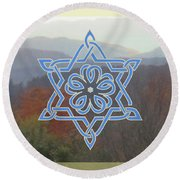 Celtic Hexagram Rose In Blue Round Beach Towel