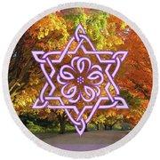 Celtic Hexagram Rose In Lavandar Round Beach Towel