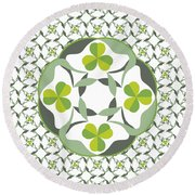 Celtic Inspired Shamrock Graphic Round Beach Towel by MM Anderson