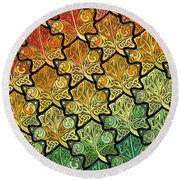 Celtic Leaf Transformation Round Beach Towel