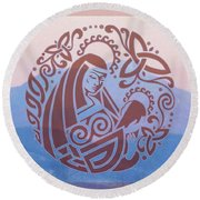 Celtic Madonna Over A Mountain Round Beach Towel