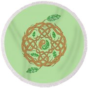 Celtic Nature Yin Yang Round Beach Towel
