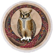 Celtic Owl Round Beach Towel