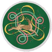 Round Beach Towel featuring the mixed media Celtic Reindeer Knots by Kristen Fox