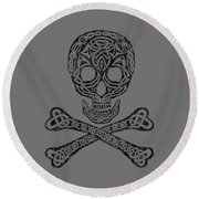 Round Beach Towel featuring the mixed media Celtic Skull And Crossbones by Kristen Fox
