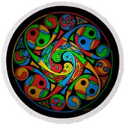 Celtic Stained Glass Spiral Round Beach Towel