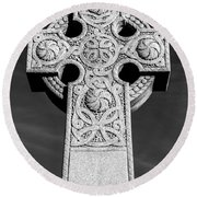 Celtic Stone Cross At Sunset Round Beach Towel by Gary Whitton