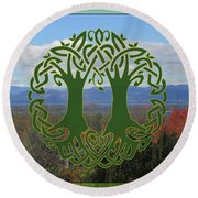 Celtic Wedding Tree In Green Round Beach Towel