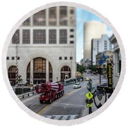 Cement Truck In The Itty-bitty-city Round Beach Towel
