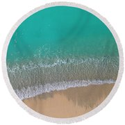 Round Beach Towel featuring the photograph Cemetery Beach Aerial Panoramic by Adam Romanowicz