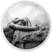 Round Beach Towel featuring the photograph Cemetery Grave Mourner Black White Surreal Coffin Grave Art - Angel Mourner Across Rose Coffin by Kathy Fornal
