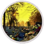 Cemetery In Feast Of The Dead Round Beach Towel