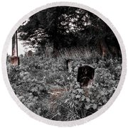 Cemetery In Red Round Beach Towel