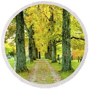 Round Beach Towel featuring the photograph Cemetery Lane by Greg Fortier