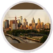 Round Beach Towel featuring the photograph Center City Philadelphia by Ed Sweeney