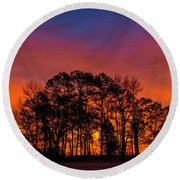 Round Beach Towel featuring the photograph Center Grove by John Harding
