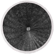 Center Of The Earth In Black And White Round Beach Towel by Nadalyn Larsen