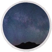 Center Of The Milky Way Over The Badlands Round Beach Towel