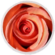 Round Beach Towel featuring the photograph Center Of The Peach Rose by Barbara Chichester