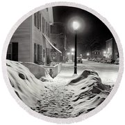 Center Of Town Woodstock  Vermont Medium Format Acetate Negative By Marion Post Wolcott March 1939 Round Beach Towel