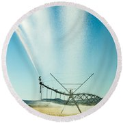Center Pivot Irrigation Unit Spraying Water Round Beach Towel