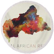 Central African Republic Watercolor Map Round Beach Towel