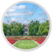 Central Grounds And Gardens At University Of Oklahoma Round Beach Towel