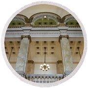 Central Library Milwaukee Interior Round Beach Towel